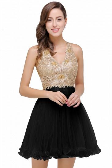 BMbridal Short Tulle A-line V-Neck Appliques Sleeveless Prom Dress_3