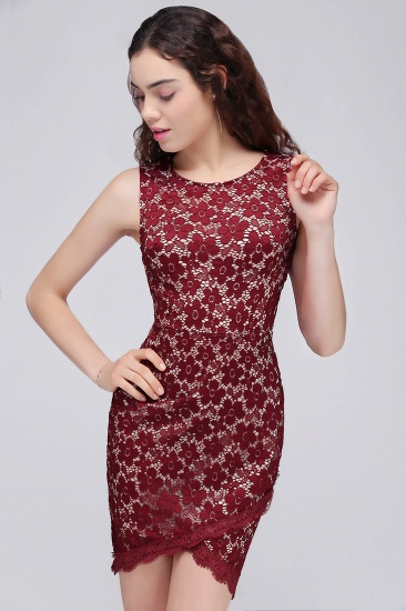 BMbridal Bodycon Round Neck Short Lace Burgundy Homecoming Dress_8