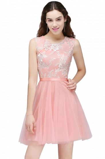 BMbridal Pink Short Homecoming Dress with Lace Appliques_1