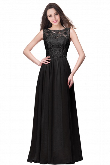 BMbridal Affordable A-line Chiffon Crew Lace Navy Long Bridesmaid Dresses In Stock_7