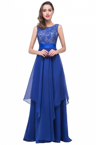 Exquisite A-line Chiffon Floor-length Royal Blue Bridesmaid Dress with Lace