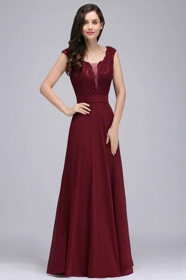 BMbridal Elegant Lace A-line Long Burgundy Prom Dress