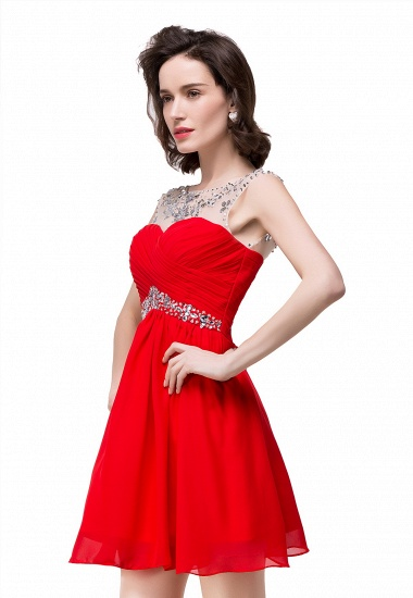 BMbridal A-line Jewel Chiffon Party Dress With Crystal_2