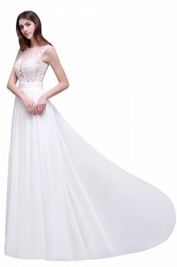 BMbridal Elegant White Sheer Lace Chiffon Beach Wedding Dress_8
