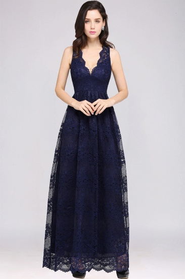 Dark Navy Sheath V-neck Floor-length Lace Bridesmaid Dress