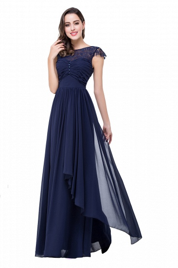BMbridal A-line Ruffles Ribbon Bow Capped Lace Chiffon Bridesmaid Dress_7