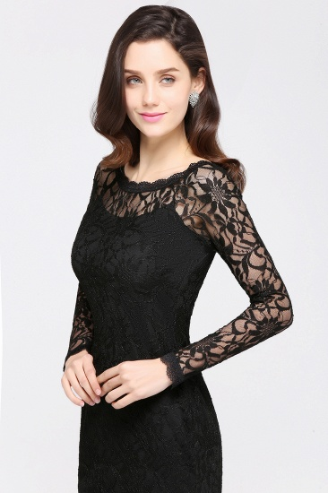 BMbridal Sexy Black Lace Long Sleeves Mermaid Prom Dress_13