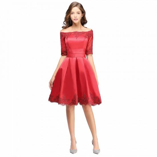 BMbridal Chic Half Sleeve Lace-up Off-shoulder Lace Appliques Short Prom Dress_2