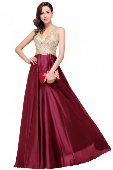 BMbridal V-neck Satin Floor-Length A-Line Appliques Backless Prom Dress_1
