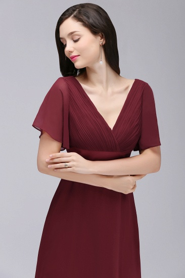 Affordable Chiffon Burgundy Long Bridesmaid Dresses with Soft Pleats In Stock_12