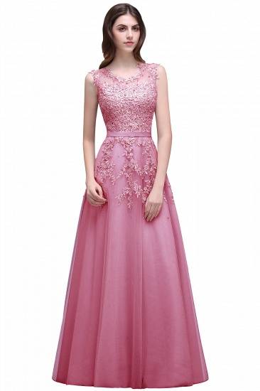 BMbridal A-line Floor-length Tulle Prom Dress with Appliques_1