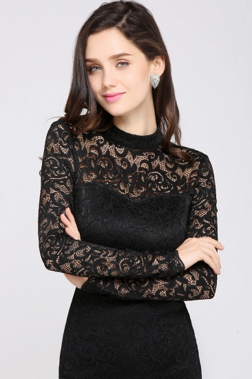 BMbridal High Neck Long Sleeve Lace Black Sexy Cocktail Dress_5