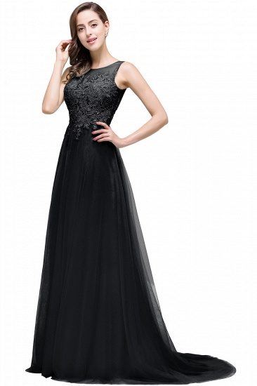 BMbridal A-line Court Train Tulle Evening Dress with Appliques_7