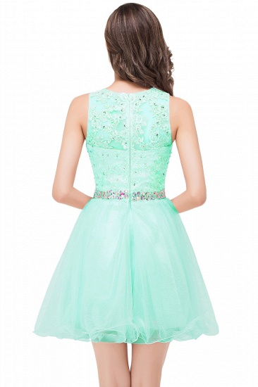 BMbridal A-line Knee-length Tulle Prom Dress with Appliques_8