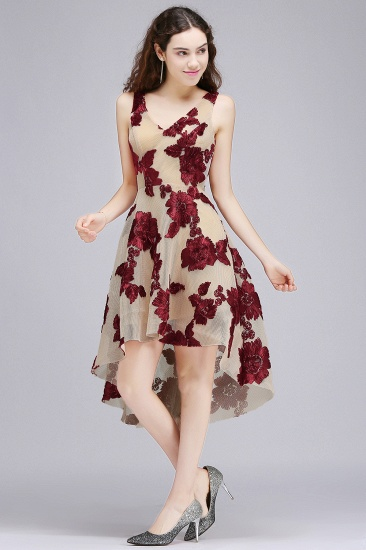 BMbridal Short Appliques Tulle V Neck Prom Dress_1