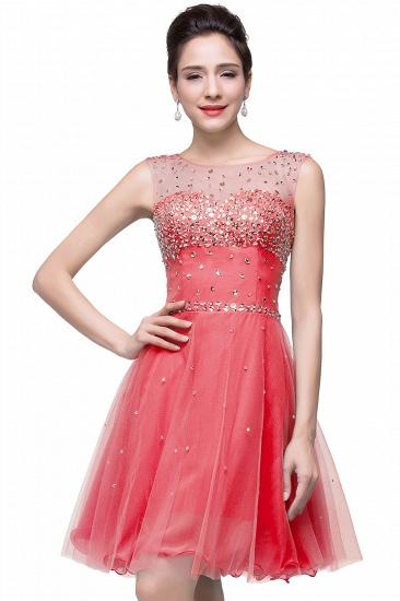 BMbridal Open Back Sleeveless Chiffon Homecoming Dress Crystal Beads Tulle Short Prom Dress_2