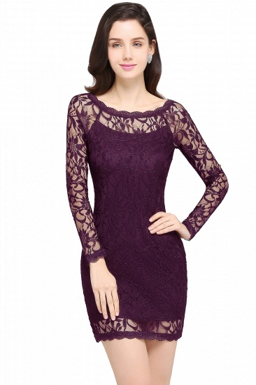BMbridal Sexy Black Lace Long Sleeves Mermaid Prom Dress_3