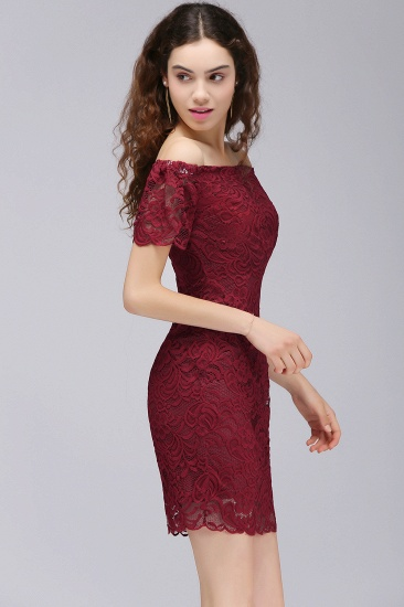 BMbridal Burgundy Lace Sheath Homecoming Dress Short Sleeves Cocktail Dress_4