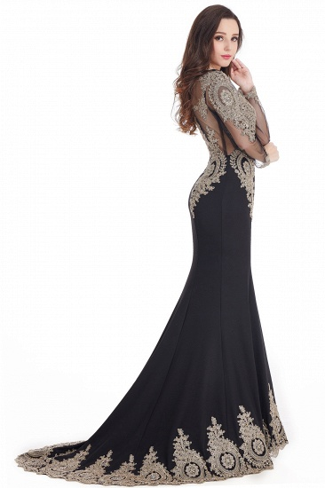 Gorgeous Long Sleeve Mermaid Evening Party Gowns With Lace Appliques_12