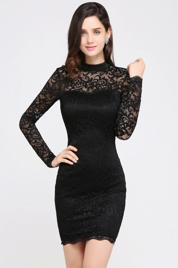 BMbridal High Neck Long Sleeve Lace Black Sexy Cocktail Dress_2