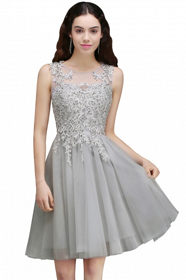 BMbridal Newest Lace Appliques Silver Jewel Sleeveless Short Homecoming Dress_3