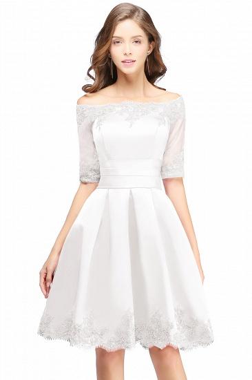 BMbridal Chic Half Sleeve Lace-up Off-shoulder Lace Appliques Short Prom Dress_1