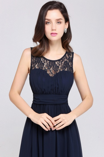 Elegant Lace Chiffon Affordable Long Navy Bridesmaid Dresses In Stock_12