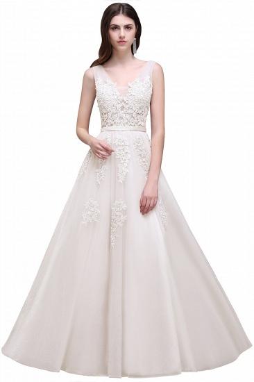 BMbridal V-Neck Sleeveless Lace Appliques Bridesmaid Dress_2