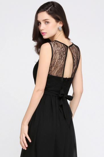 Sexy Black Chiffon Lace Long Cheap Bridesmaid Dresses In Stock_12