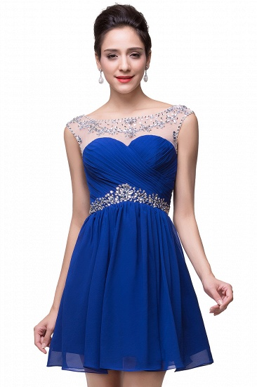 BMbridal A-line Jewel Chiffon Party Dress With Crystal_4