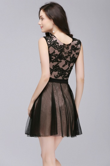 BMbridal Short Lace Appliques Tulle Sleeveless Prom Dress_4