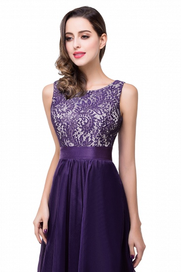 Exquisite A-line Chiffon Royal Blue Bridesmaid Dress with Lace In Stock_2