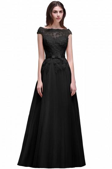BMbridal Cap Sleeve Lace Appliques Long Evening Dress_6