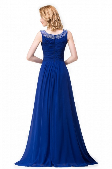 BMbridal Chiffon A-line Sexy Sparkly Crystal Long Prom Evening Dress_5