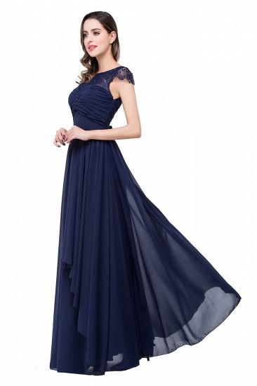 BMbridal A-line Ruffles Ribbon Bow Capped Lace Chiffon Bridesmaid Dress_9
