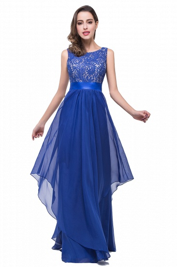 Exquisite A-line Chiffon Royal Blue Bridesmaid Dress with Lace In Stock_10