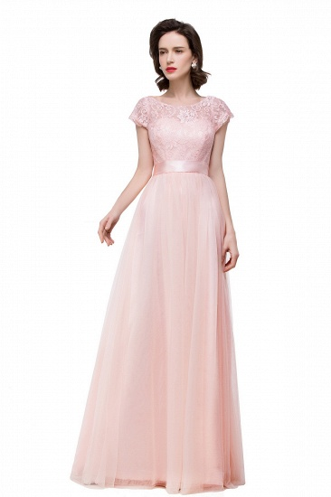Cheap A-line Chiffon Short Sleeve Bridesmaid Dresses