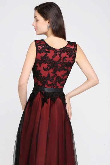 BMbridal Pretty Sleeveless Black Lace Tulle Floor Length Formal Evening Dress with Sash_5