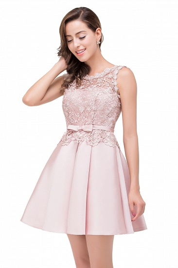 BMbridal A-line Knee-length Satin Homecoming Dress with Lace_9