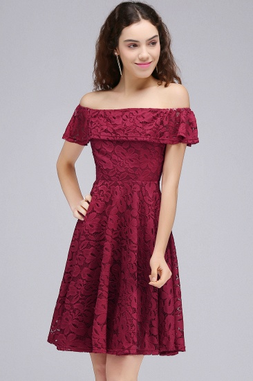 BMbridal A-Line Off-the-shoulder Lace Burgundy Homecoming Dress_5