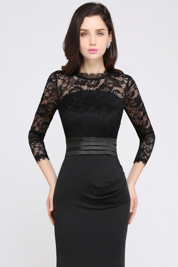 BMbridal Chic Sheath High Neck Black Bridesmaid Dress with Lace In Stock_7