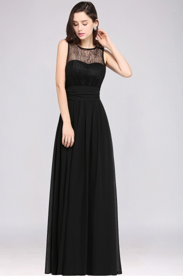 Sexy Black Chiffon Lace Long Cheap Bridesmaid Dresses In Stock_13