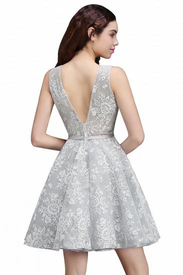 BMbridal Designer V Neck A Line Sheer Lace Short Homecoming Dress_5