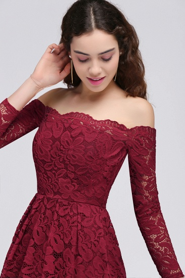 BMbridal A-Line Off-the-Shoulder Short Lace Burgundy Homecoming Dress_9