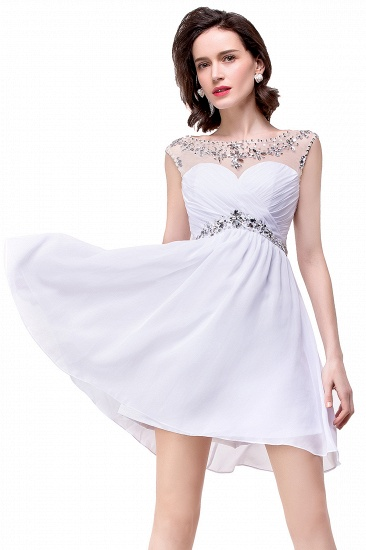 BMbridal A-line Jewel Chiffon Party Dress With Crystal_10