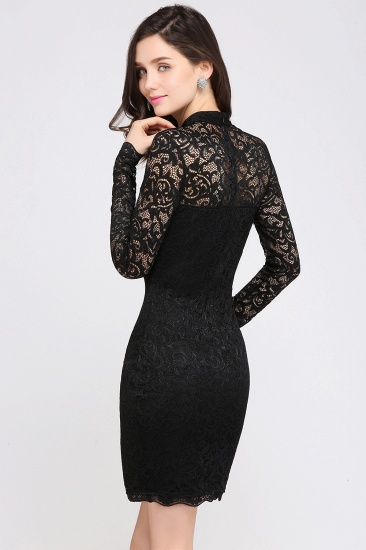 BMbridal High Neck Long Sleeve Lace Black Sexy Cocktail Dress_3