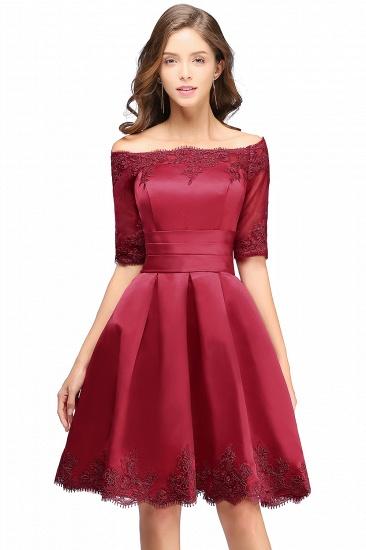 BMbridal Chic Half Sleeve Lace-up Off-shoulder Lace Appliques Short Prom Dress_3