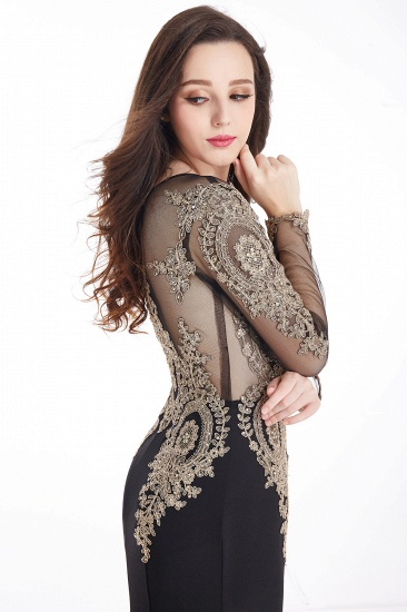 Gorgeous Long Sleeve Mermaid Evening Party Gowns With Lace Appliques_17