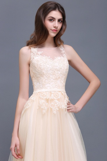 BMbridal Lace Sleeveless Long Tulle Prom Dress_9