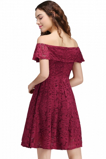 BMbridal A-Line Off-the-shoulder Lace Burgundy Homecoming Dress_3